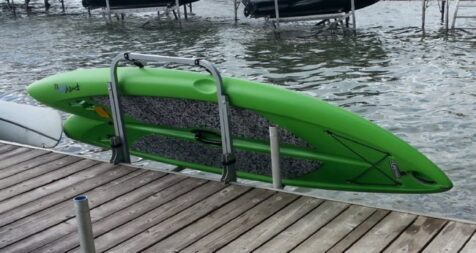 Paddle board rack for dock