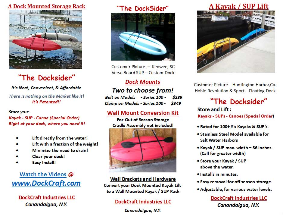 Docksider Kayak Dock Rack & Paddle Board Dock Rack Brochure